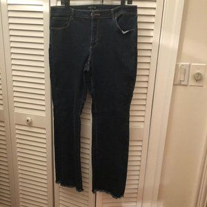 Susan Graver women bootcut raw hem jeans, 14